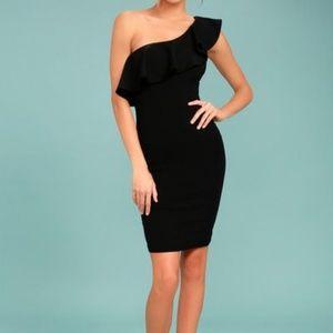 Lulu's BLACK ONE-SHOULDER BODYCON DRESS, NWT